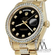 Rolex Presidential 36mm Day Date Black Dial Diamond Watch 18...