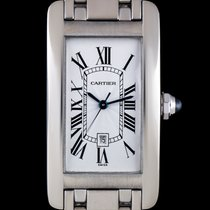 Cartier 18k W/G Silver Roman Dial Tank Americaine Mid-Size Watch