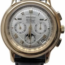Zenith Yellow gold Automatic Silver No numerals 42mm pre-owned