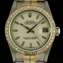 Rolex 18k Tridor Cream Dial Diamond Set Mid-Size Datejust 68149