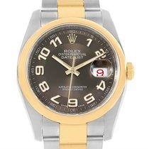 Rolex Datejust Steel Yellow Gold Brown Arabic Dial Mens Watch...