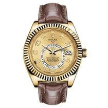 Rolex Sky-Dweller Желтое золото 42mm Цвета шампань Aрабские