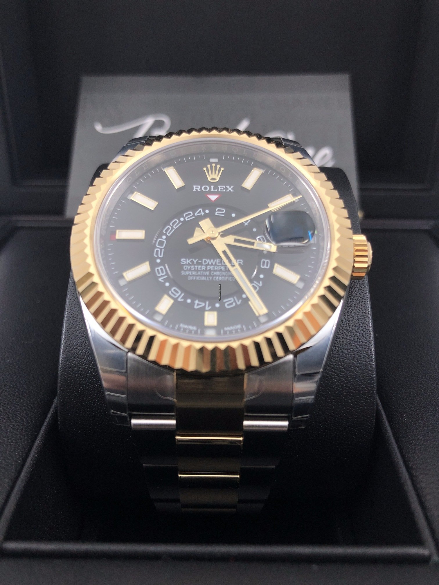Rolex basel one 326933 BLACK DIAL Sky,Dweller GOLD STEEL