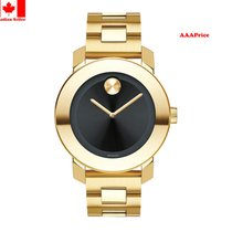 Movado Bold 3600397 Black Dial Gold-Tone Stainless Steel...