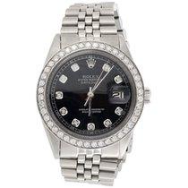 Rolex Mens Rolex 36 MM Datejust Jubilee Stainless Steel Black...