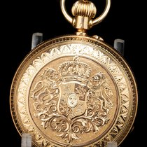 Antique 18K Solid Gold Pocket Watch with Spain Royal Shield