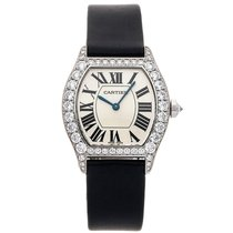 Cartier Tortue Oro blanco 34mm Plata Romanos