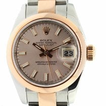 Rolex 179161 Datejust Rose Gold & Steel Watch Pink Index Dial