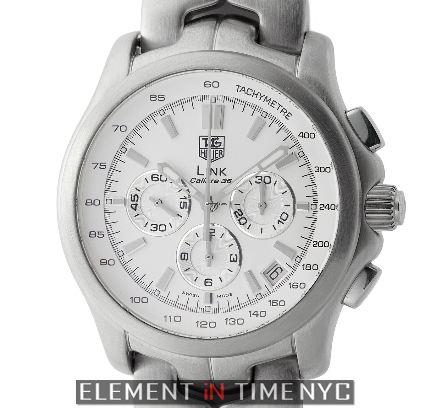 44e2355bcc9 TAG Heuer Link Caliber 36 El Primero Chronograph Stainless Steel 43mm  Silver Dial