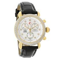 Michele CSX Ladies Diamond GT Black Leather Quartz Watch...