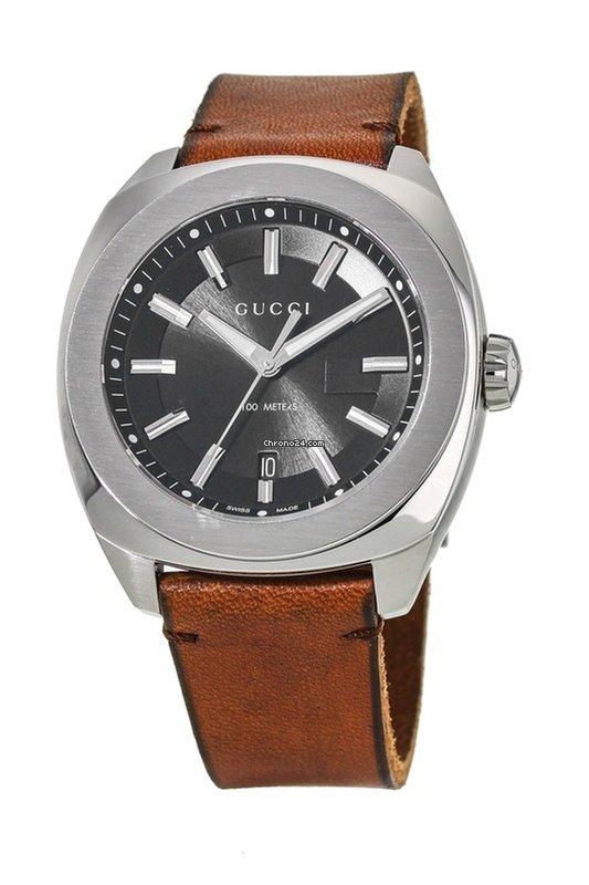 3f158dbd30a Gucci GG2570 Black Dial Brown Leather Strap Men s Watch YA142207 for AU   826 for sale from a Trusted Seller on Chrono24