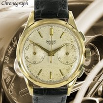 Heuer Yellow gold Manual winding Silver No numerals 34mm pre-owned