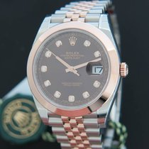Rolex Datejust 41 Everosegold/Steel Choco Diamond Dial NEW 126301