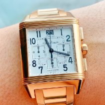 Jaeger-LeCoultre Reverso Squadra Chronograph GMT pre-owned 35mm White Chronograph Date Rose gold