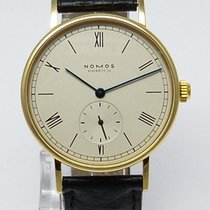NOMOS Yellow gold Manual winding Silver Roman numerals 35mm pre-owned Ludwig