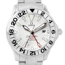 Omega Seamaster 300m Gmt White Wave Dial Steel Watch 2538.20.00
