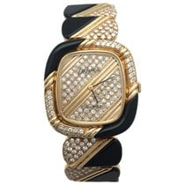 Chaumet Yellow gold Chaumet, DeLaneau watch, diamonds and onyx.
