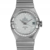 Omega Constellation Co-Axial Stahl Automatik Diamond Perlmutt...