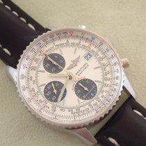 Breitling Navitimer gebraucht 41mm Silber Chronograph Datum Leder