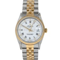 Rolex Oyster Perpetual Date Goud/Staal 34mm Wit Romeins