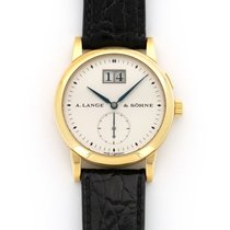 A. Lange & Söhne Yellow gold Manual winding Silver 34mm pre-owned Saxonia