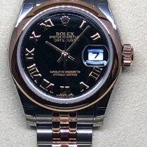 Rolex Lady-Datejust Ouro/Aço 26mm Preto Romanos