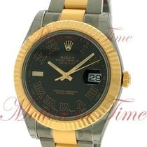 Rolex Datejust II 41mm, Black Dial, Fluted Bezel - Yellow Gold...
