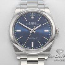 Rolex Oyster Perpetual 39 Stahl 39mm Blau Keine Ziffern
