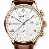 IWC PORTOGHESE CHRONOGRAPH Red Gold 18K Silver Dial IW371480 T