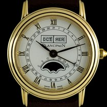 Blancpain 18k Y/G  White Roman Dial Triple Date Leman Moonphas...