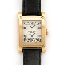 Cartier Red gold Manual winding Silver 28mm pre-owned Tank (submodel)