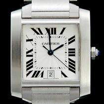 Cartier Tank Française pre-owned 28mm Silver Date Steel