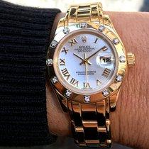 Rolex Lady-Datejust Pearlmaster Żółte złoto 29mm Masa perłowa Rzymskie