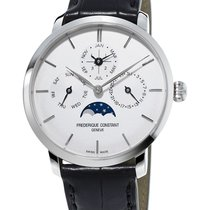 Frederique Constant Steel Automatic Silver No numerals 42mm new Manufacture Slimline Perpetual Calendar