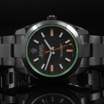 Rolex 116400 SS Milgauss, PVD w/ Black Dial and Green Crystal
