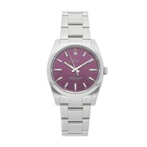 Rolex Oyster Perpetual 34 Steel 34mm Red No numerals