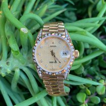 Rolex Yellow gold Automatic Champagne Roman numerals 26mm pre-owned Lady-Datejust