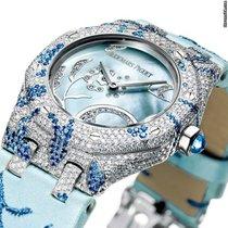 Audemars Piguet White gold Quartz Blue No numerals 33mm new Royal Oak Lady