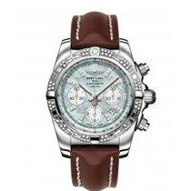 Breitling CHRONOMAT 44 Grey Pearl Diamonds Brown Leather...