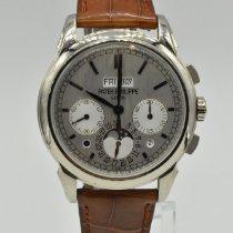 Patek Philippe Perpetual Calendar Chronograph White gold 41mm Silver No numerals