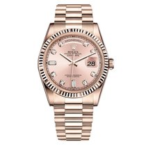 Rolex DAY-DATE 36mm Rose Gold Pink Diamond Dial Watch 118205