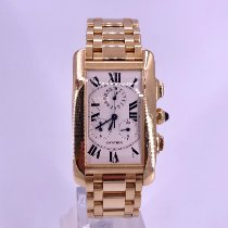 Cartier Tank Américaine pre-owned 26mm Silver Chronograph Date Yellow gold