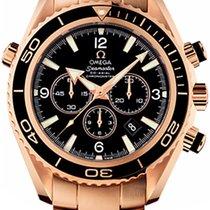 Omega Roségold Automatik Schwarz 45mm gebraucht Seamaster Planet Ocean Chronograph