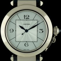 Cartier 18k White Gold Silver Dial Pasha XL Gents Watch B&P...