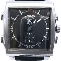 TAG Heuer Monaco pre-owned 40mm Black Chronograph Date Alarm GMT Leather