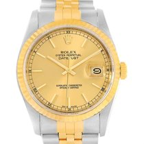 Rolex Datejust Steel 18k Yellow Gold Automatic Mens Watch 16233