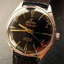 Atlantic Worldmaster 37 mm Black Vintage Men`s Watch 1975 NOS