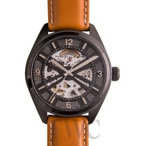 Hamilton Khaki Field Skeleton Auto Black Steel/Leather 42mm -...