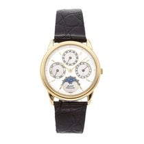 Piaget Altiplano pre-owned 33mm White Moon phase Date Month Perpetual calendar Crocodile skin