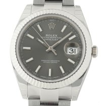 Rolex Datejust II Steel 41mm 18k White Gold Bezel Rhodium...